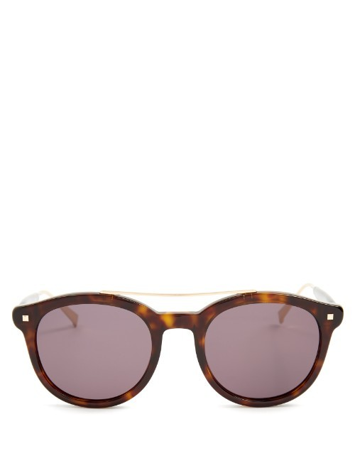 Needle Acetate Sunglasses - predominant colour: chocolate brown; secondary colour: tan; occasions: casual, holiday; style: round; size: standard; material: plastic/rubber; pattern: tortoiseshell; finish: plain; season: s/s 2016; wardrobe: basic