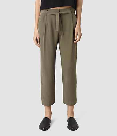 Palmer Silk Trousers - pattern: plain; style: peg leg; hip detail: front pockets at hip; waist detail: belted waist/tie at waist/drawstring; waist: mid/regular rise; predominant colour: khaki; occasions: casual, holiday, creative work; length: ankle length; fibres: polyester/polyamide - 100%; texture group: crepes; fit: tapered; pattern type: fabric; season: s/s 2016; wardrobe: basic