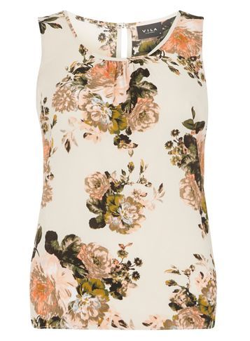 Womens **Vila Multi Colour Floral Shell Top Multi Colour - neckline: round neck; sleeve style: sleeveless; predominant colour: ivory/cream; occasions: casual, creative work; length: standard; style: top; fibres: polyester/polyamide - stretch; fit: body skimming; sleeve length: sleeveless; texture group: sheer fabrics/chiffon/organza etc.; pattern type: fabric; pattern: florals; pattern size: big & busy (top); season: s/s 2016; wardrobe: highlight