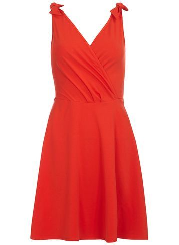 Womens Red Bow Strap Dress Red - style: faux wrap/wrap; length: mid thigh; neckline: v-neck; pattern: plain; sleeve style: sleeveless; predominant colour: true red; occasions: evening; fit: fitted at waist & bust; fibres: cotton - stretch; hip detail: subtle/flattering hip detail; sleeve length: sleeveless; texture group: cotton feel fabrics; pattern type: fabric; season: s/s 2016; wardrobe: event
