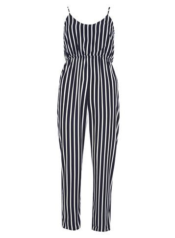Womens **Mela Navy And White Stripe Jumpsuit Blue - length: standard; sleeve style: spaghetti straps; pattern: vertical stripes; waist detail: fitted waist; secondary colour: white; predominant colour: navy; occasions: casual; fit: body skimming; neckline: scoop; fibres: polyester/polyamide - 100%; sleeve length: sleeveless; style: jumpsuit; pattern type: fabric; pattern size: standard; texture group: woven light midweight; season: s/s 2016; wardrobe: highlight
