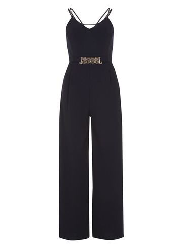Womens *Mela Navy Belted Detail Jumpsuit Blue - length: standard; neckline: low v-neck; sleeve style: spaghetti straps; pattern: plain; back detail: back revealing; predominant colour: navy; occasions: evening; fit: fitted at waist & bust; fibres: polyester/polyamide - 100%; sleeve length: sleeveless; texture group: crepes; style: jumpsuit; pattern type: fabric; season: s/s 2016; wardrobe: event; embellishment location: waist