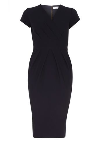 Womens **Closet Navy V Neck Tie Back Dress Blue - style: faux wrap/wrap; neckline: v-neck; sleeve style: capped; fit: tailored/fitted; pattern: plain; waist detail: fitted waist; hip detail: draws attention to hips; bust detail: subtle bust detail; predominant colour: navy; length: on the knee; fibres: polyester/polyamide - 100%; occasions: occasion, creative work; sleeve length: short sleeve; texture group: crepes; pattern type: fabric; season: s/s 2016; wardrobe: investment