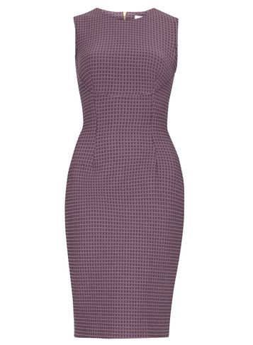 Womens **Closet Purple Curve Jacquard Dress Purple - style: shift; fit: tailored/fitted; sleeve style: sleeveless; pattern: checked/gingham; waist detail: fitted waist; hip detail: fitted at hip; predominant colour: purple; secondary colour: lilac; length: just above the knee; fibres: cotton - mix; occasions: occasion, creative work; neckline: crew; sleeve length: sleeveless; pattern type: fabric; pattern size: light/subtle; texture group: brocade/jacquard; season: s/s 2016