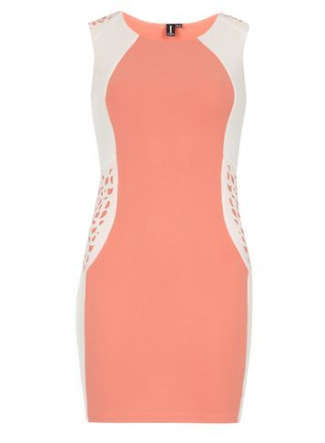 Womens **Izabel London Coral Cutout Bodycon Dress Coral - length: mini; fit: tight; sleeve style: sleeveless; style: bodycon; secondary colour: white; predominant colour: coral; occasions: evening; fibres: polyester/polyamide - stretch; neckline: crew; sleeve length: sleeveless; texture group: jersey - clingy; pattern type: fabric; pattern size: standard; pattern: colourblock; season: s/s 2016