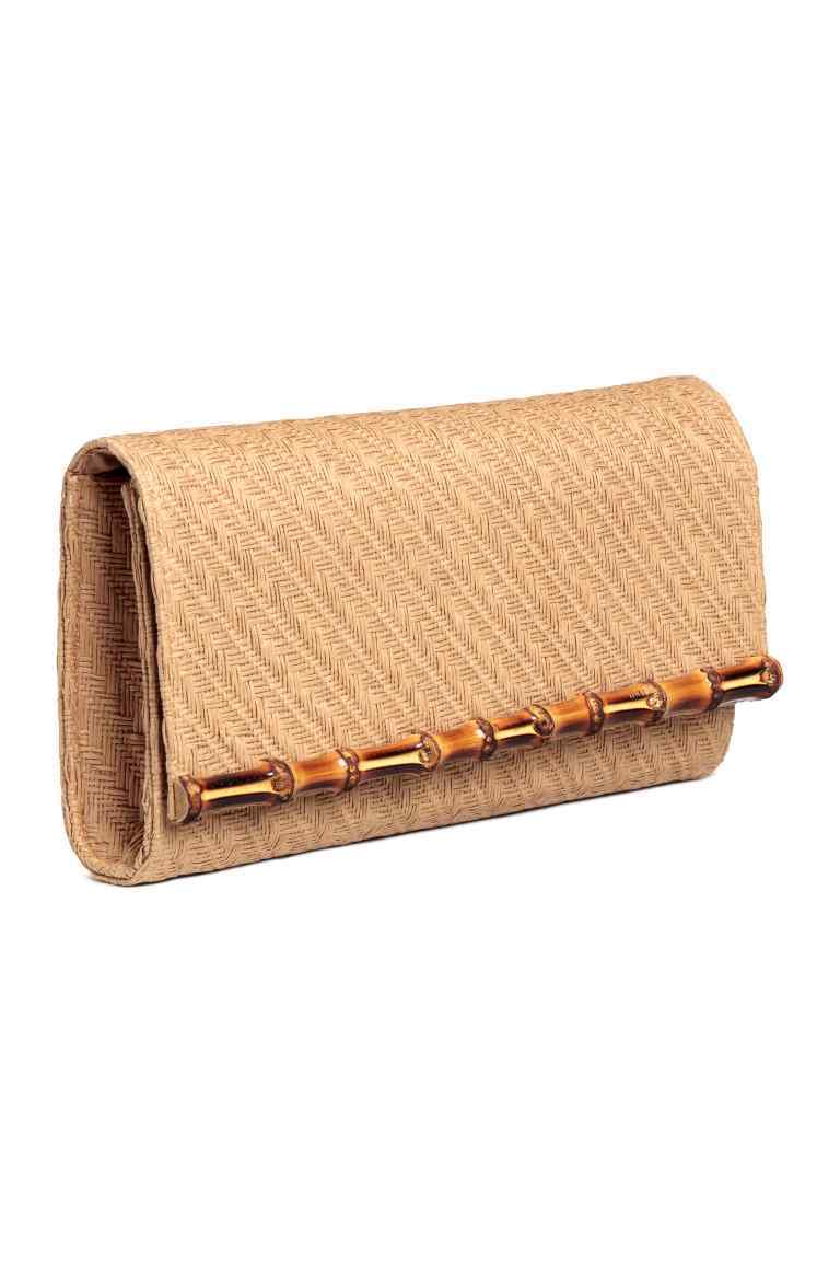 Braided Clutch Bag - predominant colour: stone; occasions: occasion; type of pattern: standard; style: clutch; length: hand carry; size: small; material: macrame/raffia/straw; pattern: plain; finish: plain; season: s/s 2016; wardrobe: event