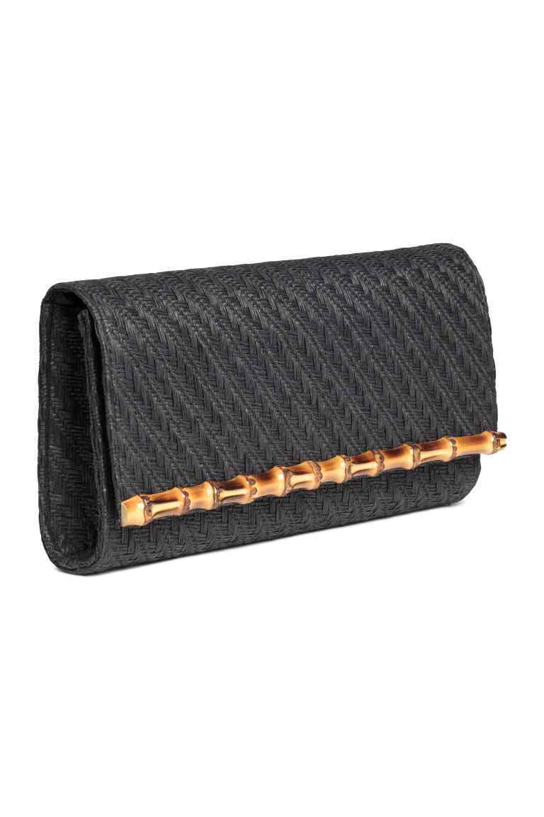 Braided Clutch Bag - predominant colour: black; occasions: evening; type of pattern: standard; style: clutch; length: hand carry; size: small; material: macrame/raffia/straw; pattern: plain; finish: plain; season: s/s 2016; wardrobe: event