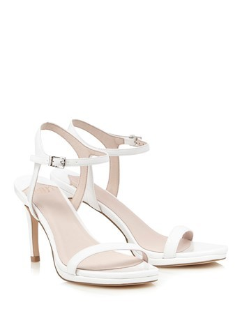 Barely There Sandals - predominant colour: white; occasions: evening; material: faux leather; heel height: high; ankle detail: ankle strap; heel: stiletto; toe: open toe/peeptoe; style: strappy; finish: plain; pattern: plain; season: s/s 2016; wardrobe: event