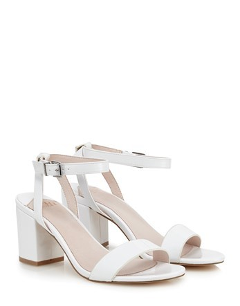 Block Heel Sandals - predominant colour: white; occasions: evening; material: faux leather; heel height: high; ankle detail: ankle strap; heel: block; toe: open toe/peeptoe; style: strappy; finish: plain; pattern: plain; season: s/s 2016; wardrobe: event