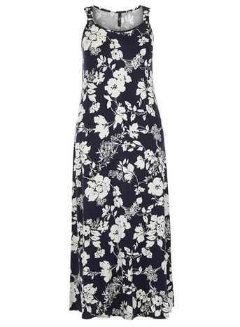 Navy Floral Print Knot Dress - sleeve style: standard vest straps/shoulder straps; style: maxi dress; length: ankle length; secondary colour: white; predominant colour: navy; occasions: casual; fit: soft a-line; neckline: scoop; fibres: viscose/rayon - stretch; sleeve length: sleeveless; pattern type: fabric; pattern size: big & busy; pattern: florals; texture group: jersey - stretchy/drapey; season: s/s 2016