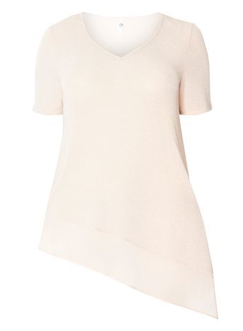 Blush Pink Glitter Asymmetric Top - neckline: v-neck; pattern: plain; style: t-shirt; predominant colour: nude; occasions: casual; length: standard; fit: body skimming; sleeve length: short sleeve; sleeve style: standard; pattern type: fabric; texture group: jersey - stretchy/drapey; fibres: nylon - stretch; season: s/s 2016; wardrobe: basic