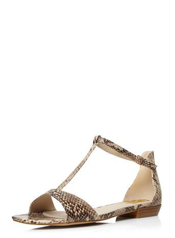 Brown Snake Print Square Toe Sandal - predominant colour: tan; secondary colour: stone; material: faux leather; heel height: flat; ankle detail: ankle strap; heel: standard; toe: open toe/peeptoe; style: standard; occasions: holiday; finish: plain; pattern: animal print; season: s/s 2016; trends: boho