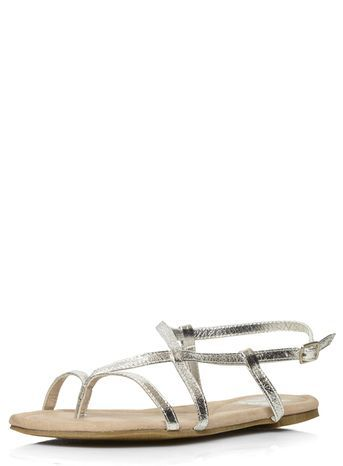 Silver Toe Post Sandal - predominant colour: silver; occasions: casual, holiday; material: faux leather; heel height: flat; ankle detail: ankle strap; heel: standard; toe: toe thongs; style: strappy; finish: metallic; pattern: plain; season: s/s 2016; wardrobe: basic