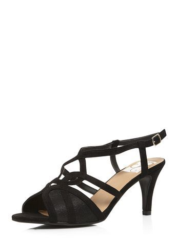 Black Heeled Sandal - predominant colour: black; occasions: occasion; material: faux leather; heel height: mid; heel: stiletto; toe: open toe/peeptoe; style: strappy; finish: plain; pattern: plain; season: s/s 2016