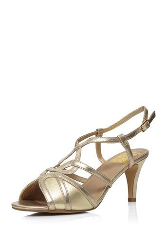 Gold Heeled Sandal - predominant colour: gold; occasions: evening, occasion; material: faux leather; heel height: mid; heel: stiletto; toe: open toe/peeptoe; style: strappy; finish: metallic; pattern: plain; season: s/s 2016