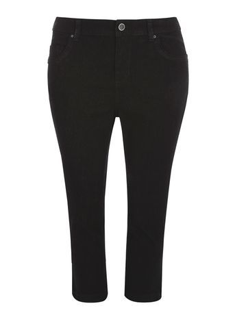Black Pear Fit Cropped Jeans - pattern: plain; pocket detail: traditional 5 pocket; style: slim leg; waist: mid/regular rise; predominant colour: black; occasions: casual; length: calf length; fibres: cotton - stretch; texture group: denim; pattern type: fabric; season: s/s 2016; wardrobe: basic