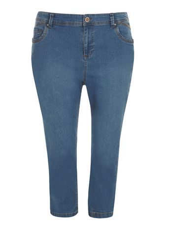 Midwash Pear Fit Cropped Jeans - pattern: plain; pocket detail: traditional 5 pocket; style: slim leg; waist: mid/regular rise; predominant colour: denim; occasions: casual; length: calf length; fibres: cotton - stretch; texture group: denim; pattern type: fabric; season: s/s 2016; wardrobe: basic