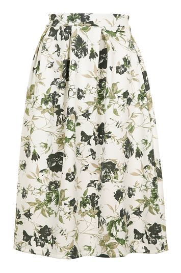 Floral Co Ord Pleated Midi By Wal G - length: below the knee; style: full/prom skirt; fit: loose/voluminous; waist: high rise; predominant colour: ivory/cream; secondary colour: khaki; fibres: polyester/polyamide - stretch; occasions: occasion, creative work; waist detail: narrow waistband; pattern type: fabric; pattern: florals; texture group: woven light midweight; multicoloured: multicoloured; season: s/s 2016