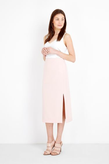 Blush Split Front Pencil Skirt - length: below the knee; pattern: plain; style: straight; waist: high rise; hip detail: draws attention to hips; predominant colour: nude; fibres: polyester/polyamide - stretch; texture group: crepes; fit: straight cut; pattern type: fabric; occasions: creative work; season: s/s 2016; wardrobe: basic