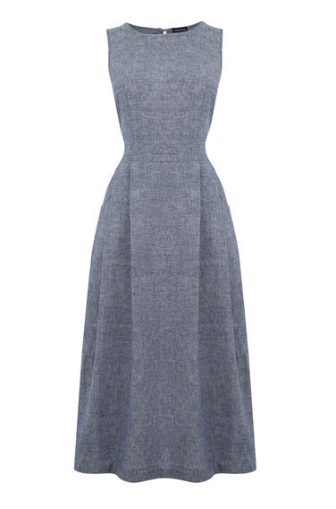Linen Open Back Midi Dress - length: calf length; pattern: plain; sleeve style: sleeveless; style: full skirt; predominant colour: mid grey; occasions: evening; fit: fitted at waist & bust; fibres: linen - 100%; neckline: crew; sleeve length: sleeveless; pattern type: fabric; texture group: other - light to midweight; season: s/s 2016