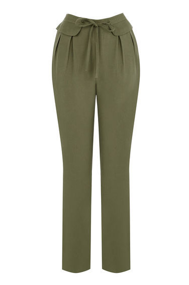Premium Casual Trouser - length: standard; pattern: plain; waist: high rise; pocket detail: pockets at the sides; waist detail: belted waist/tie at waist/drawstring; predominant colour: khaki; occasions: casual, creative work; fibres: viscose/rayon - 100%; fit: slim leg; pattern type: fabric; texture group: woven light midweight; style: standard; season: s/s 2016; wardrobe: basic