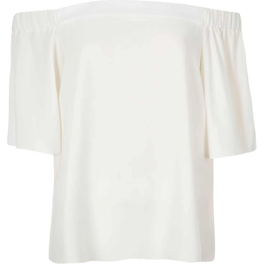 Womens Cream Bardot Top - neckline: off the shoulder; pattern: plain; predominant colour: ivory/cream; occasions: casual, evening, creative work; length: standard; style: top; fibres: polyester/polyamide - 100%; fit: straight cut; sleeve length: half sleeve; sleeve style: standard; pattern type: fabric; texture group: other - light to midweight; season: s/s 2016; wardrobe: highlight