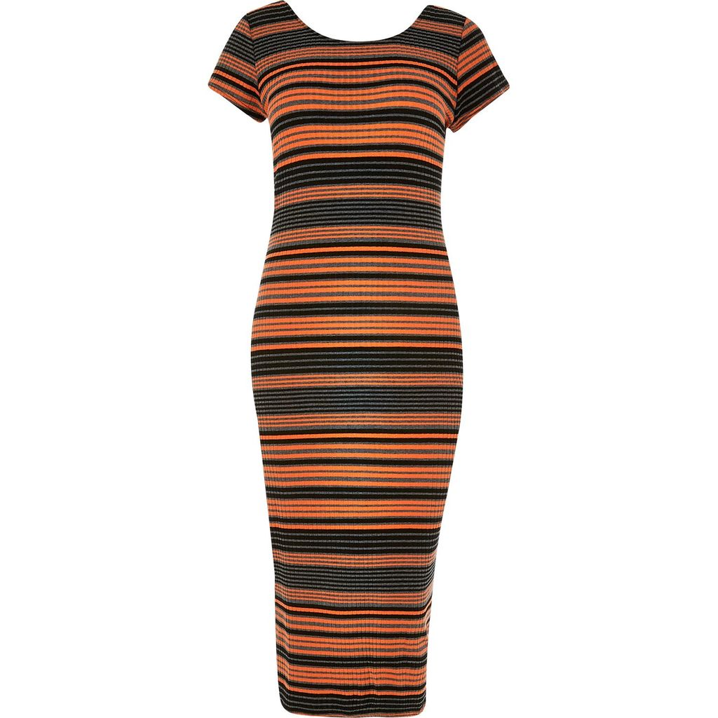 Womens Ri Plus Orange Stripe Print Midi Dress - length: calf length; fit: tight; pattern: horizontal stripes; style: bodycon; predominant colour: bright orange; secondary colour: black; occasions: evening; fibres: polyester/polyamide - stretch; neckline: crew; sleeve length: short sleeve; sleeve style: standard; texture group: jersey - clingy; pattern type: fabric; multicoloured: multicoloured; season: s/s 2016; wardrobe: event