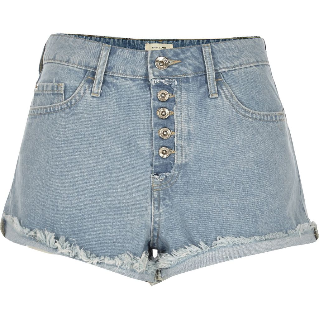 Womens Light Blue Wash Distressed Ruby Denim Shorts - pattern: plain; pocket detail: traditional 5 pocket; waist: mid/regular rise; predominant colour: denim; occasions: casual; fibres: cotton - 100%; texture group: denim; pattern type: fabric; season: s/s 2016; style: denim; length: short shorts; fit: slim leg; wardrobe: highlight