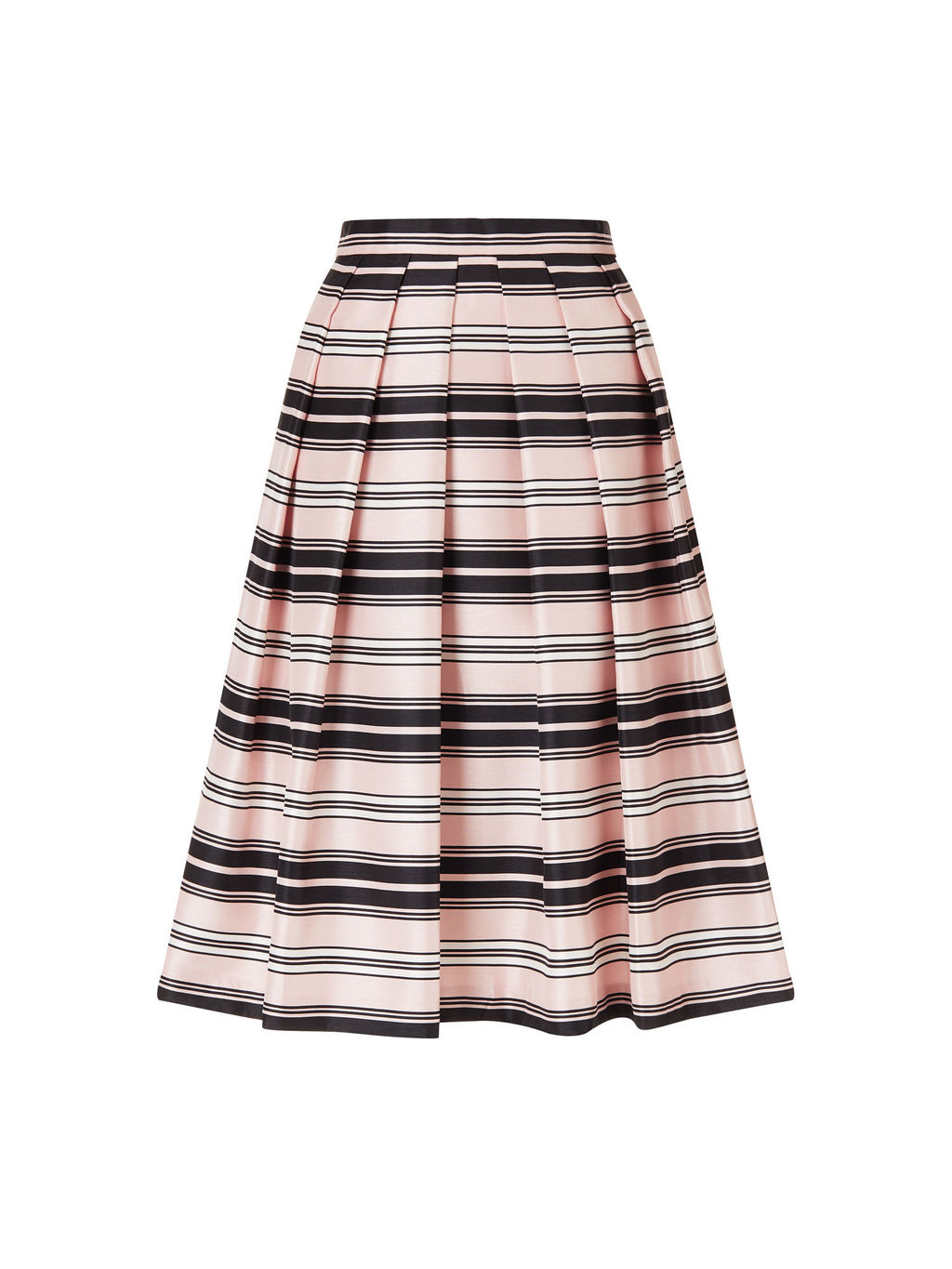 Stripe Prom Skirt - length: below the knee; style: full/prom skirt; fit: loose/voluminous; waist: mid/regular rise; predominant colour: blush; secondary colour: black; occasions: evening; fibres: polyester/polyamide - 100%; pattern type: fabric; texture group: woven light midweight; pattern: horizontal stripes (bottom); multicoloured: multicoloured; season: s/s 2016
