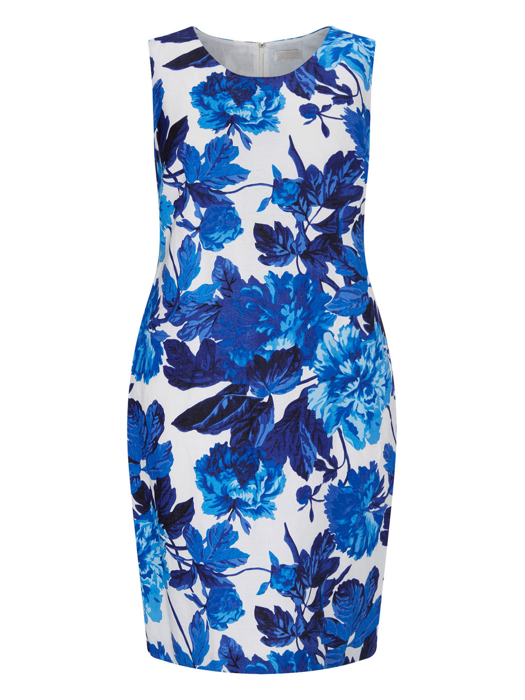 Printed Linen Dress - style: shift; length: mid thigh; sleeve style: sleeveless; secondary colour: white; predominant colour: royal blue; occasions: evening; fit: body skimming; fibres: linen - 100%; neckline: crew; sleeve length: sleeveless; texture group: linen; pattern type: fabric; pattern size: big & busy; pattern: florals; multicoloured: multicoloured; season: s/s 2016; wardrobe: event