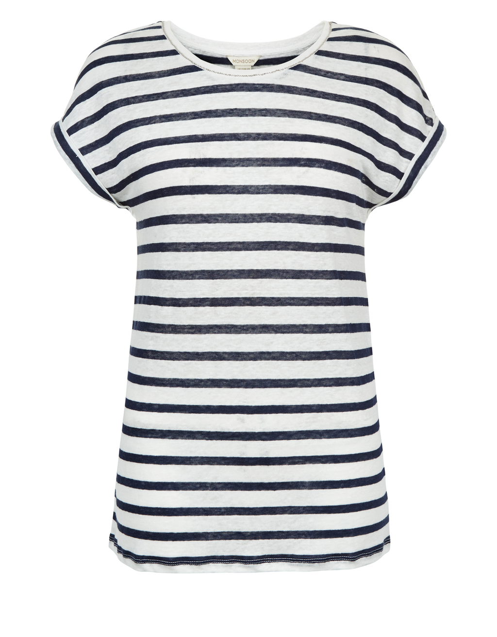 Nahlah Stripe T Shirt - neckline: round neck; pattern: horizontal stripes; style: t-shirt; predominant colour: navy; occasions: casual; length: standard; fibres: linen - 100%; fit: body skimming; sleeve length: short sleeve; sleeve style: standard; pattern type: fabric; texture group: jersey - stretchy/drapey; pattern size: big & busy (top); season: s/s 2016; wardrobe: basic
