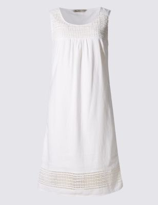 Linen Blend Sleeveless Shift Dress - style: shift; length: below the knee; pattern: plain; sleeve style: sleeveless; predominant colour: white; occasions: casual, holiday; fit: body skimming; neckline: scoop; fibres: linen - mix; sleeve length: sleeveless; texture group: linen; pattern type: fabric; season: s/s 2016; wardrobe: basic