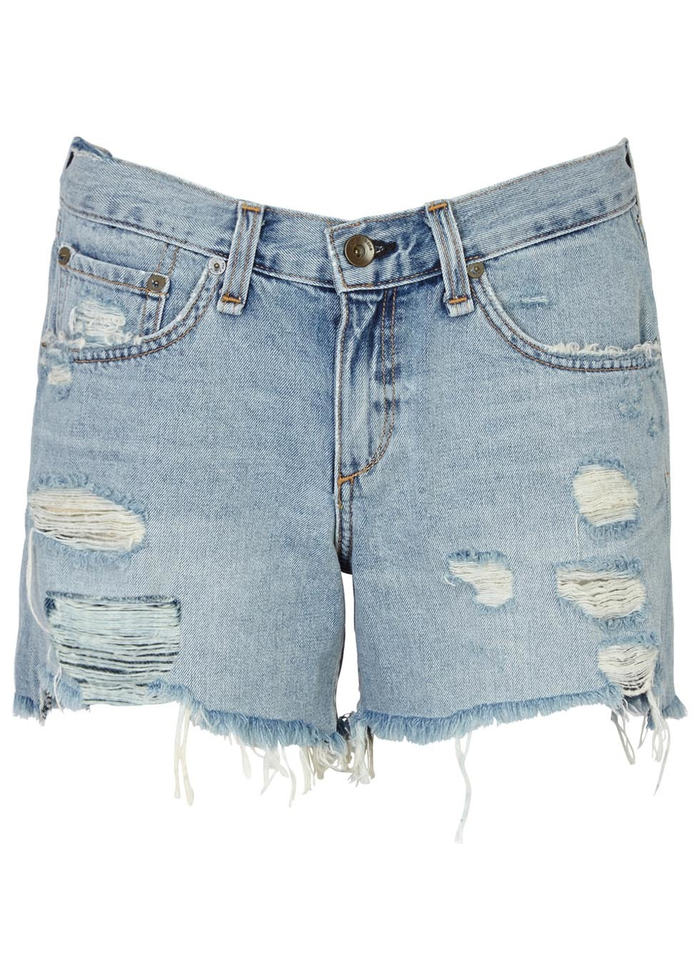Blue Distressed Boyfriend Denim Shorts - pattern: plain; waist: mid/regular rise; predominant colour: pale blue; occasions: casual, holiday; fibres: cotton - 100%; texture group: denim; pattern type: fabric; pattern size: standard (bottom); season: s/s 2016; style: denim; length: mid thigh shorts; fit: slim leg; wardrobe: holiday