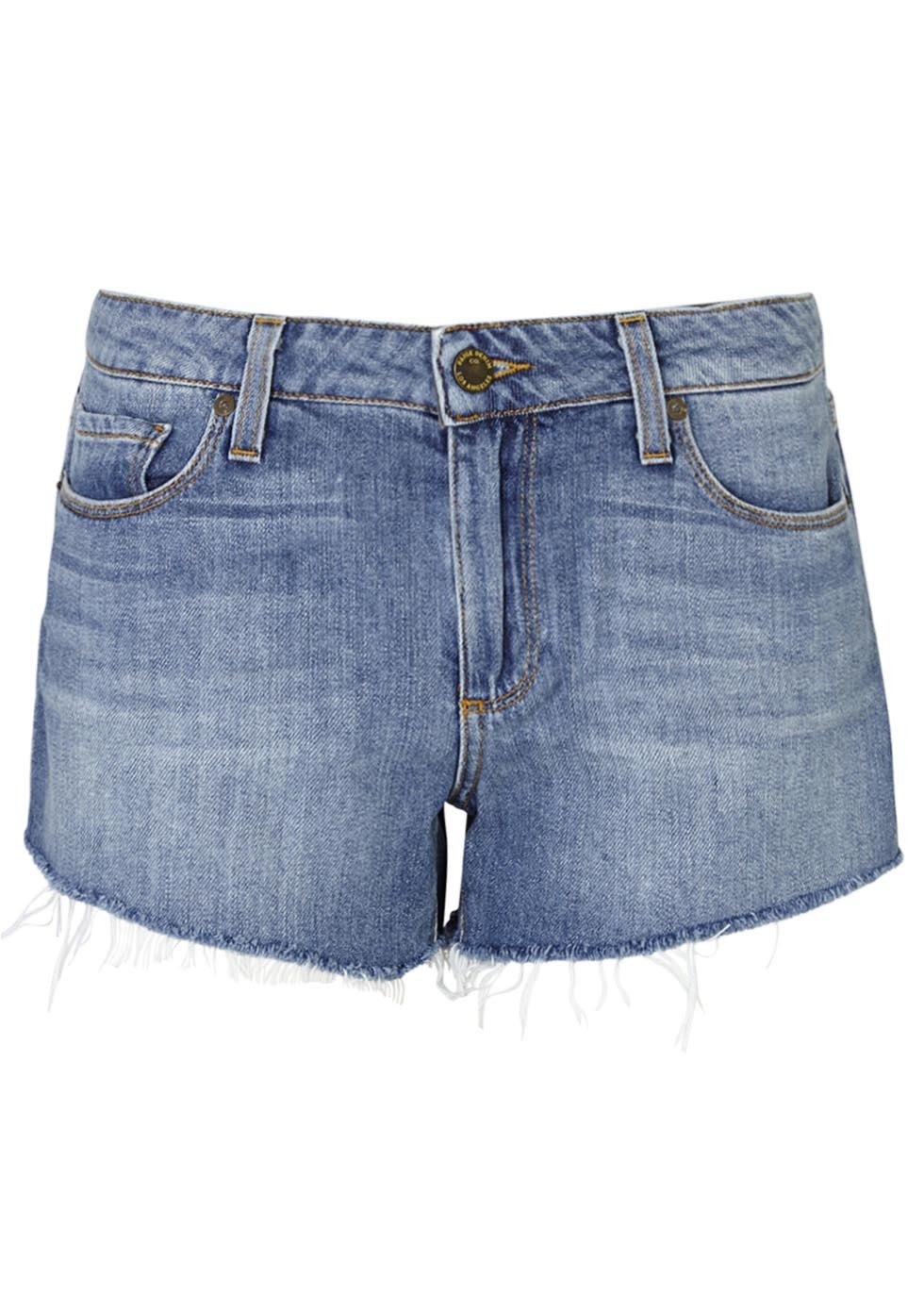 Kiera Blue Frayed Denim Shorts - pattern: plain; waist: mid/regular rise; predominant colour: denim; occasions: casual, holiday; fibres: cotton - mix; texture group: denim; pattern type: fabric; pattern size: standard (bottom); season: s/s 2016; style: denim; length: short shorts; fit: slim leg; wardrobe: holiday