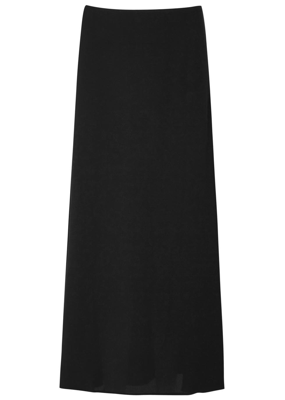 Black Silk Georgette Maxi Skirt - pattern: plain; length: ankle length; fit: body skimming; waist: mid/regular rise; predominant colour: black; occasions: evening; style: maxi skirt; fibres: silk - 100%; texture group: silky - light; pattern type: fabric; season: s/s 2016