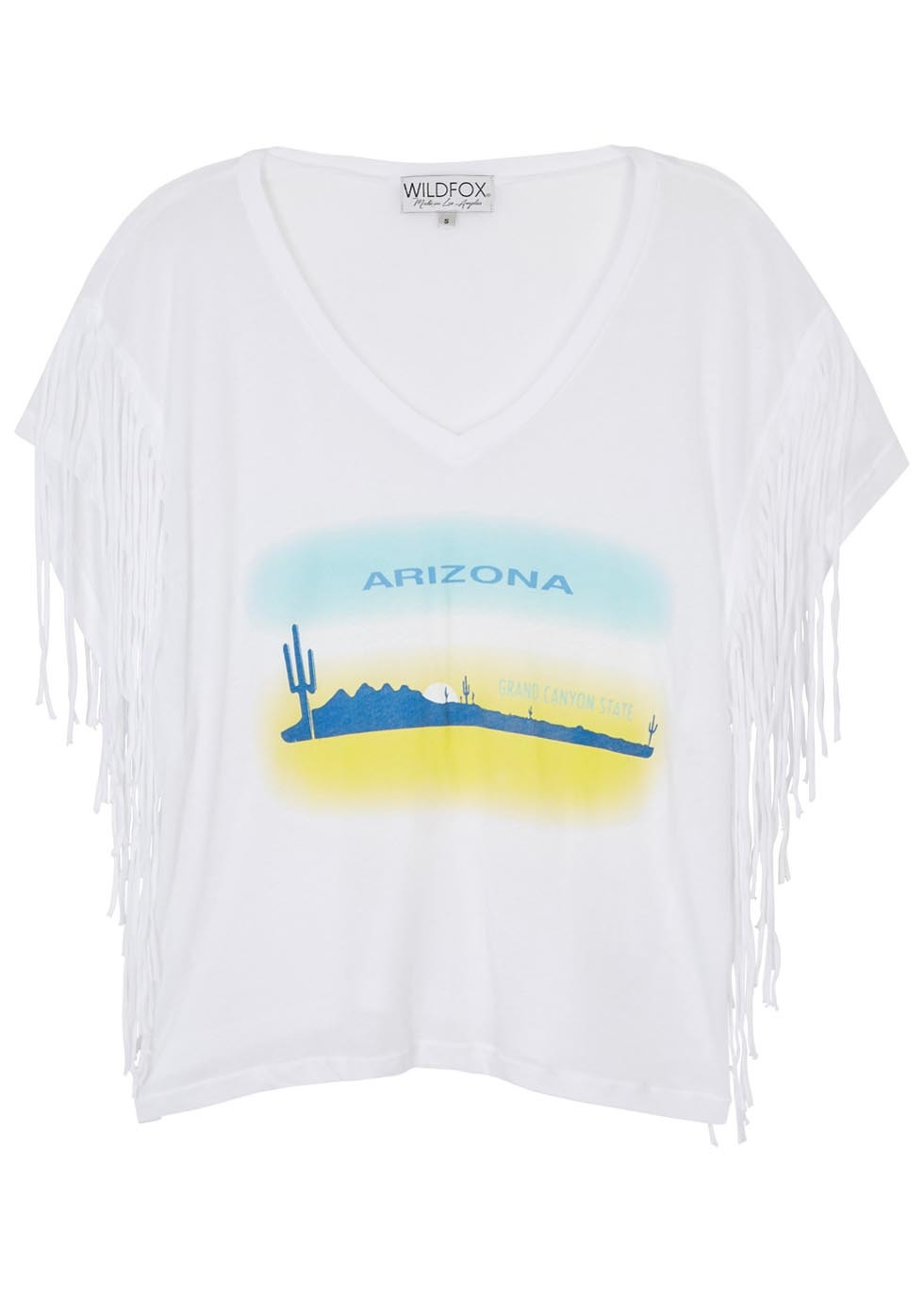 Arizona Heat Fringed Fine Knit T Shirt - neckline: v-neck; sleeve style: dolman/batwing; style: t-shirt; predominant colour: white; secondary colour: yellow; occasions: casual; length: standard; fibres: cotton - stretch; fit: loose; sleeve length: short sleeve; pattern type: fabric; pattern size: standard; pattern: patterned/print; texture group: jersey - stretchy/drapey; embellishment: fringing; multicoloured: multicoloured; season: s/s 2016