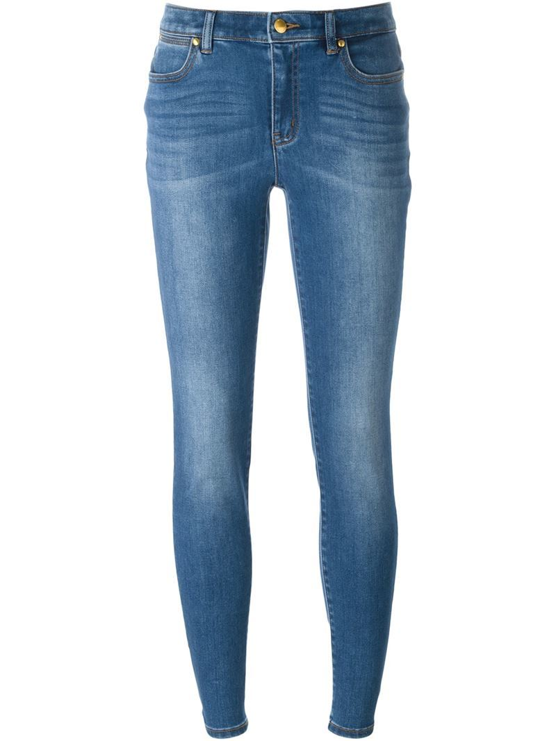 Stonewashed Effect Skinny Jeans, Women's, Blue - style: skinny leg; length: standard; pattern: plain; pocket detail: traditional 5 pocket; waist: mid/regular rise; predominant colour: denim; occasions: casual; fibres: cotton - stretch; jeans detail: whiskering, shading down centre of thigh; texture group: denim; pattern type: fabric; season: s/s 2016; wardrobe: basic