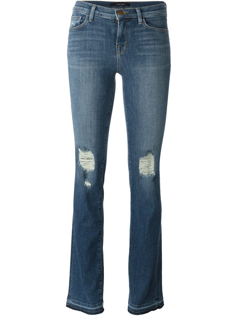 Distressed Bootcut Jeans, Women's, Blue - style: bootcut; length: standard; pattern: plain; pocket detail: traditional 5 pocket; waist: mid/regular rise; predominant colour: denim; occasions: casual; fibres: cotton - stretch; jeans detail: whiskering, shading down centre of thigh, rips; texture group: denim; pattern type: fabric; season: s/s 2016; wardrobe: basic