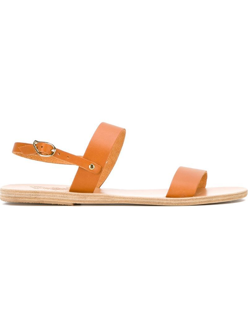 'clio' Sandals, Women's, Brown - predominant colour: camel; occasions: casual, holiday; material: leather; heel height: flat; ankle detail: ankle strap; heel: standard; toe: open toe/peeptoe; style: strappy; finish: plain; pattern: plain; season: s/s 2016; wardrobe: basic