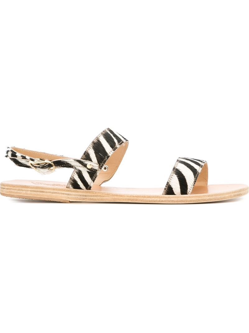 'clio' Zebra Print Sandals, Women's, Black - secondary colour: white; predominant colour: black; occasions: casual, holiday; material: leather; heel height: flat; heel: block; toe: open toe/peeptoe; style: strappy; finish: plain; pattern: animal print; season: s/s 2016; wardrobe: highlight