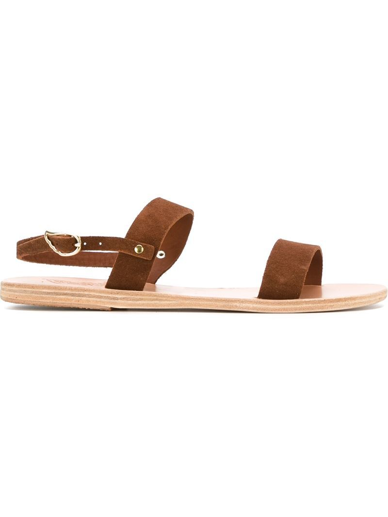 'clio' Sandals, Women's, Brown - predominant colour: tan; occasions: casual, holiday; material: suede; heel height: flat; heel: block; toe: open toe/peeptoe; style: strappy; finish: plain; pattern: plain; season: s/s 2016; wardrobe: highlight
