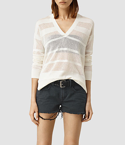 Fix Mesh Jumper - neckline: v-neck; pattern: horizontal stripes; style: standard; predominant colour: ivory/cream; occasions: casual; length: standard; fibres: linen - mix; fit: slim fit; sleeve length: long sleeve; sleeve style: standard; texture group: knits/crochet; pattern type: fabric; season: s/s 2016