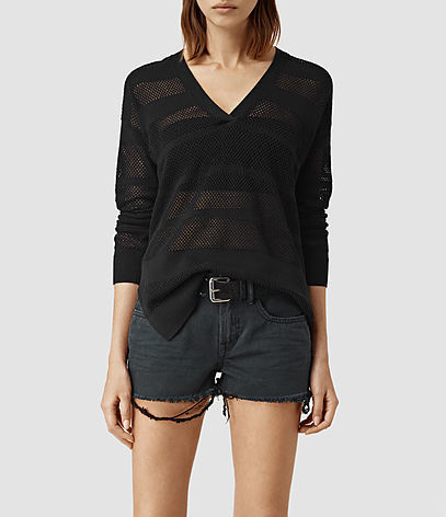 Fix Mesh Jumper - neckline: v-neck; pattern: horizontal stripes; style: standard; predominant colour: black; occasions: casual, creative work; length: standard; fibres: linen - mix; fit: slim fit; sleeve length: long sleeve; sleeve style: standard; texture group: knits/crochet; pattern type: fabric; season: s/s 2016; wardrobe: highlight