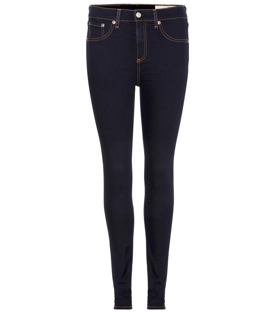 10 Inch Skinny High Rise Jeans - style: flares; length: standard; pattern: plain; pocket detail: traditional 5 pocket; waist: mid/regular rise; predominant colour: navy; occasions: casual; fibres: cotton - stretch; texture group: denim; pattern type: fabric; season: s/s 2016; wardrobe: basic