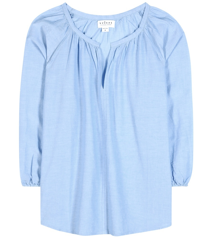 Esme Cotton Blouse - neckline: v-neck; pattern: plain; style: blouse; predominant colour: pale blue; occasions: casual; length: standard; fibres: cotton - 100%; fit: loose; sleeve length: long sleeve; sleeve style: standard; pattern type: fabric; texture group: other - light to midweight; season: s/s 2016; wardrobe: highlight