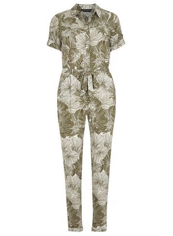 Womens Khaki Tropical Boilersuit Green - length: standard; neckline: shirt collar/peter pan/zip with opening; waist detail: belted waist/tie at waist/drawstring; secondary colour: white; predominant colour: khaki; occasions: casual; fit: body skimming; fibres: viscose/rayon - 100%; sleeve length: short sleeve; sleeve style: standard; style: jumpsuit; pattern type: fabric; pattern: florals; texture group: other - light to midweight; multicoloured: multicoloured; season: s/s 2016; wardrobe: highlight