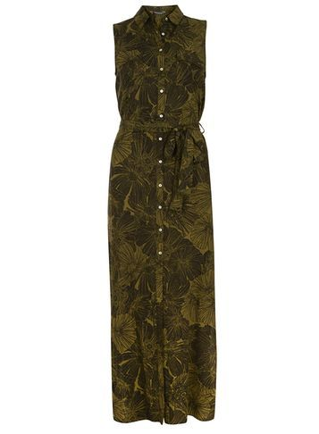Womens Khaki Tropical Maxi Shirt Dress Green - style: shirt; neckline: shirt collar/peter pan/zip with opening; sleeve style: sleeveless; length: ankle length; waist detail: belted waist/tie at waist/drawstring; predominant colour: khaki; occasions: casual; fit: body skimming; fibres: viscose/rayon - 100%; sleeve length: sleeveless; pattern type: fabric; pattern: florals; texture group: woven light midweight; season: s/s 2016; wardrobe: highlight