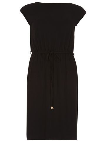 Womens Black 'v' Back Midi Dress Black - style: shift; sleeve style: capped; pattern: plain; waist detail: belted waist/tie at waist/drawstring; predominant colour: black; occasions: casual; length: on the knee; fit: body skimming; fibres: viscose/rayon - stretch; neckline: crew; sleeve length: short sleeve; pattern type: fabric; texture group: jersey - stretchy/drapey; season: s/s 2016; wardrobe: basic