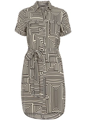 Womens Black And White Printed Shirt Dress Black - style: shirt; neckline: shirt collar/peter pan/zip with opening; pattern: striped; waist detail: belted waist/tie at waist/drawstring; secondary colour: white; predominant colour: black; occasions: casual; length: just above the knee; fit: body skimming; fibres: polyester/polyamide - 100%; sleeve length: short sleeve; sleeve style: standard; pattern type: fabric; texture group: other - light to midweight; multicoloured: multicoloured; season: s/s 2016; wardrobe: highlight