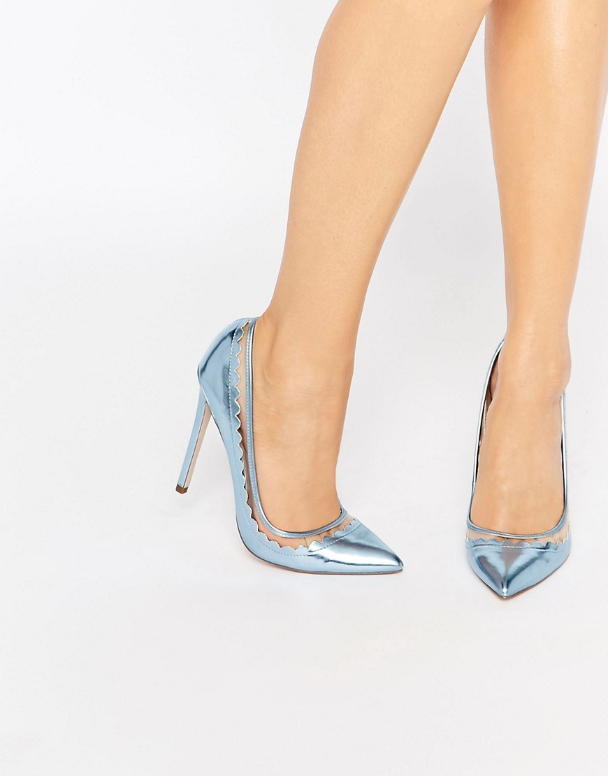 Phrase Pointed High Heels Blue - predominant colour: pale blue; occasions: evening; material: faux leather; heel height: high; heel: stiletto; toe: pointed toe; style: courts; finish: metallic; pattern: plain; season: s/s 2016